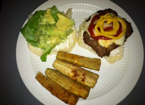 Chicken burger with fat free mayo, cheese, lettuce and avocado and baked zucchini spears