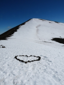 A symbol of love and gratitude at the top of Mauna Kea. Picture taken on my 35th birthday. A sign of good things to come.